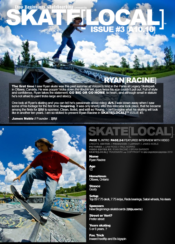 NBS SKATE[LOCAL]™ ISSUE#3 featuring RYAN[RACINE]